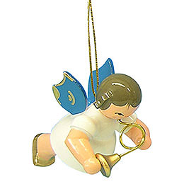 Tree Ornament - Angel with French Horn - Blue Wings - Floating - 5,5 cm / 2,1 inch