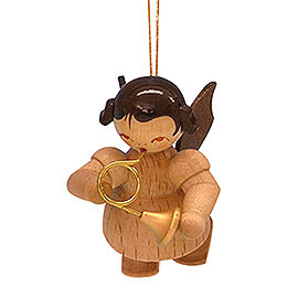 Tree Ornament - Angel with French Horn - Natural Colors - Floating - 5,5 cm / 2,1 inch