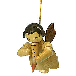 Tree Ornament - Angel with Gemshorn - Natural Colors - Floating - 5,5 cm / 2,1 inch