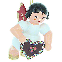 Tree Ornament - Angel with Gingerbread Heart - Red Wings - Floating - 5,5 cm / 2.2 inch