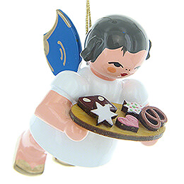 Tree Ornament - Angel with Gingerbread Plate - Blue Wings - Floating - 5,5 cm / 2.2 inch