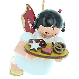 Tree Ornament - Angel with Gingerbread Plate - Red Wings - Floating - 5,5 cm / 2.2 inch