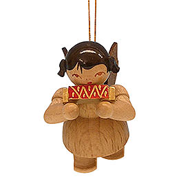 Tree Ornament - Angel with Harmonica - Natural Colors - Floating - 5,5 cm / 2,1 inch
