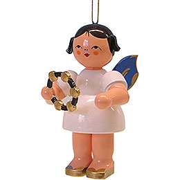 Tree Ornament - Angel with Jingle Ring - Blue Wings - 9,5 cm / 3.7 inch