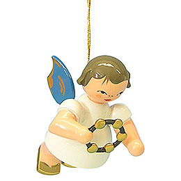 Tree Ornament - Angel with Jingle Ring - Blue Wings - Floating - 5,5 cm / 2,1 inch
