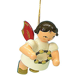 Tree Ornament - Angel with Jingle Ring - Red Wings - Floating - 5,5 cm / 2,1 inch