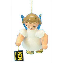 Tree Ornament - Angel with Lantern - Blue Wings - Floating - 6 cm / 2,3 inch