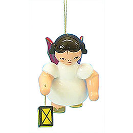 Tree Ornament - Angel with Lantern - Red Wings - Floating - 6 cm / 2,3 inch