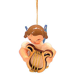 Tree Ornament - Angel with Lyre - Blue Wings - Floating - 5,5 cm / 2,1 inch