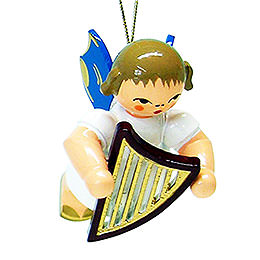 Tree Ornament - Angel with Lyre - Blue Wings - Floating - 5,5 cm / 2.1 inch