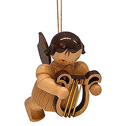 Tree Ornament - Angel with Lyre - Natural Colors - Floating - 5,5 cm / 2,1 inch