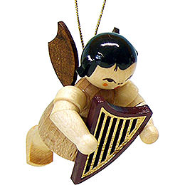 Tree Ornament - Angel with Lyre - Natural - Floating - 5,5 cm / 2.1 inch