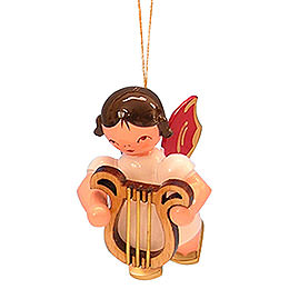 Tree Ornament - Angel with Lyre - Red Wings - Floating - 5,5 cm / 2,1 inch