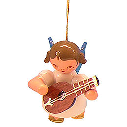 Tree Ornament - Angel with Mandolin - Blue Wings - Floating - 5,5 cm / 2,1 inch