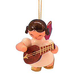 Tree Ornament - Angel with Mandolin - Red Wings - Floating - 5,5 cm / 2,1 inch