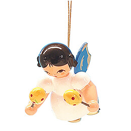 Tree Ornament - Angel with Maracas - Blue Wings - Floating - 5,5 cm / 2.2 inch