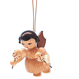 Tree Ornament - Angel with Maracas - Natural Colors - Floating - 5,5 cm / 2.2 inch