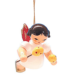 Tree Ornament - Angel with Maracas - Red Wings - Floating - 5,5 cm / 2.2 inch