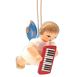 Tree Ornament - Angel with Melodica - Blue Wings - Floating - 5,5 cm / 2.2 inch