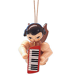 Tree Ornament - Angel with Melodica - Natural Colors - Floating - 5,5 cm / 2.2 inch