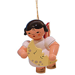 Tree Ornament - Angel with Moon - Red Wings - Floating - 5,5 cm / 2.2 inch