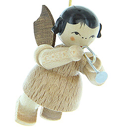 Tree Ornament - Angel with Piccolo Trumpet - Natural Colors - Floating - 5,5 cm / 2.2 inch