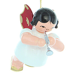 Tree Ornament - Angel with Piccolo Trumpet - Red Wings - Floating - 5,5 cm / 2.2 inch