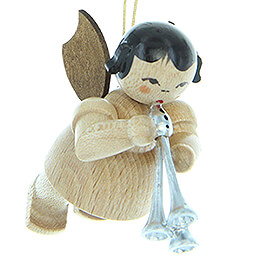 Tree Ornament - Angel with Shawm - Natural Colors - Floating - 5,5 cm / 2.2 inch
