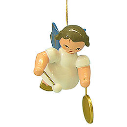 Tree Ornament - Angel with Small Gong - Blue Wings - Floating - 5,5 cm / 2,1 inch