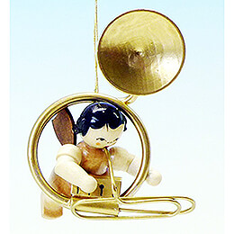 Tree Ornament - Angel with Sousaphone - Natural Colors - Floating - 5,5 cm / 2.2 inch