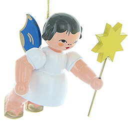 Tree Ornament - Angel with Star - Blue Wings - Floating - 5,5 cm / 2.2 inch