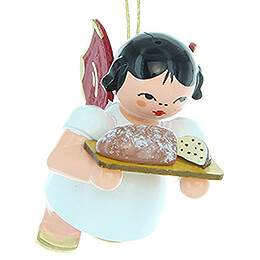 Tree Ornament - Angel with Stollen Plate - Red Wings - Floating - 5,5 cm / 2.2 inch