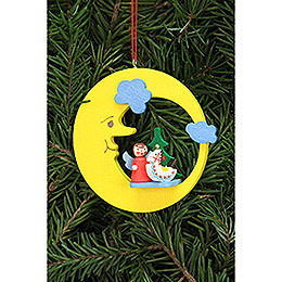 Tree Ornament - Angel with Toy in Moon - 8,3x7,9 cm / 3.3x3.1 inch