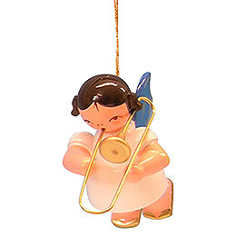Tree Ornament - Angel with Trombone - Blue Wings - Floating - 5,5 cm / 2,1 inch