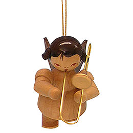 Tree Ornament - Angel with Trombone - Natural Colors - Floating - 5,5 cm / 2,1 inch