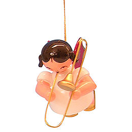 Tree Ornament - Angel with Trombone - Red Wings - Floating - 5,5 cm / 2,1 inch