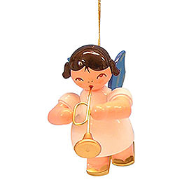 Tree Ornament - Angel with Trumpet - Blue Wings - Floating - 5,5 cm / 2,1 inch