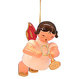 Tree Ornament - Angel with Trumpet - Red Wings - Floating - 5,5 cm / 2,1 inch