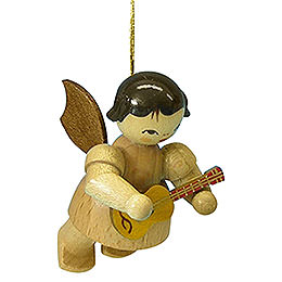 Tree Ornament - Angel with Ukulele - Natural Colors - Floating - 5,5 cm / 2,1 inch