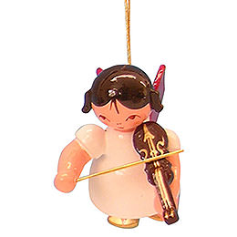 Tree Ornament - Angel with Violin - Red Wings - Floating - 5,5 cm / 2,1 inch