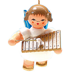 Tree Ornament - Angel with Xylophone - Blue Wings - Floating - 5,5 cm / 2.2 inch