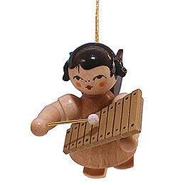 Tree Ornament - Angel with Xylophone - Natural Colors - Floating - 5,5 cm / 2.2 inch