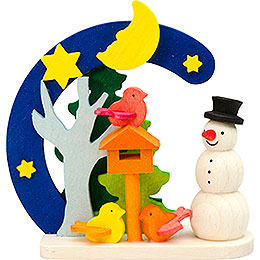 Tree Ornament - Arch and Snowman with Bird House - 7 cm / 2.8 inch