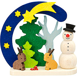Tree Ornament - Arch and Snowman with Bunnies - 7 cm / 2.8 inch