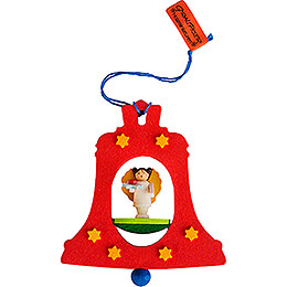 Tree Ornament - Bell Red with Angel - 7,5 cm / 3 inch