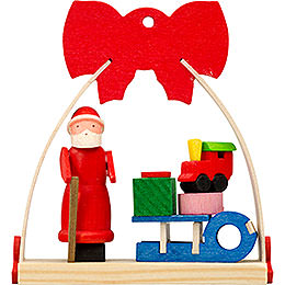 Tree Ornament - Bow Santa Claus with Sleigh - 7 cm / 2.8 inch