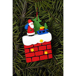 Tree Ornament - Chimney with Santa Claus - 4,8x7,6 cm / 1.9x3.0 inch