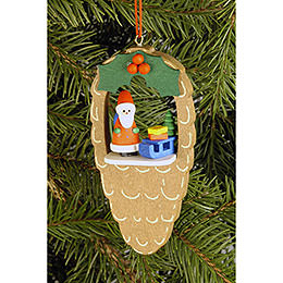 Tree Ornament - Cone with Santa Claus - 4,4x8,8 cm / 1.7x3.5 inch
