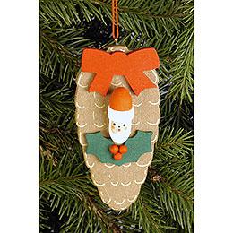 Tree Ornament - Cone with Santa Face - 4,4x8,8 cm / 1.7x3.5 inch
