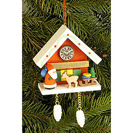 Tree Ornament - Cuckoo Clock Red with Niko - 6,7x6,3 cm / 2.6x2.5 inch